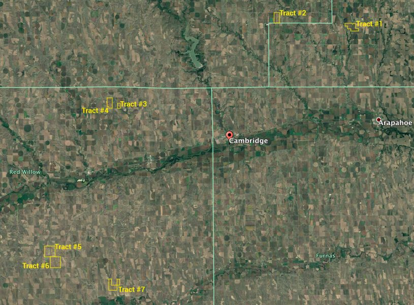Gosper, Frontier and Red Willow Counties, NE 2,823.32 Acres Selling at Auction in 7 Tracts