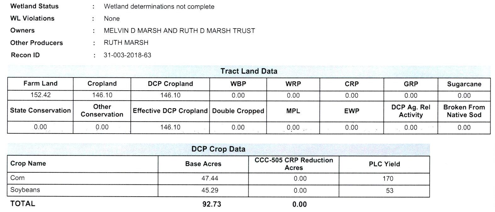 Crop Info_Tract 1-BIR90