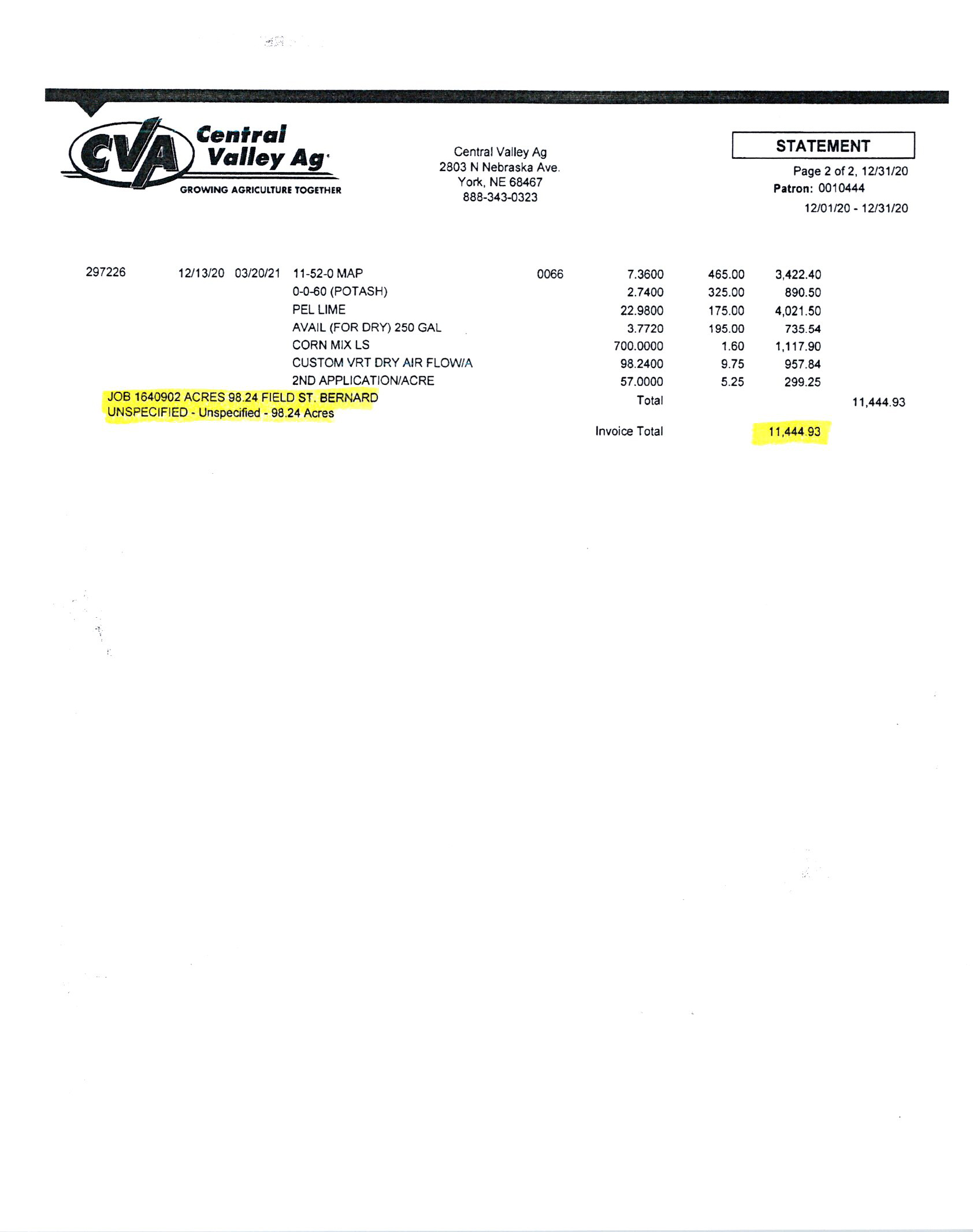 CVA Fertilizer Invoice BIR1078
