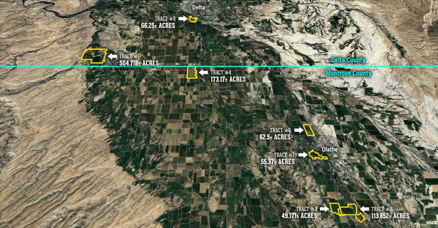 Land Auction 1,025.031+/- Acres Delta & Montrose County, CO, Selling in 7 Tracts